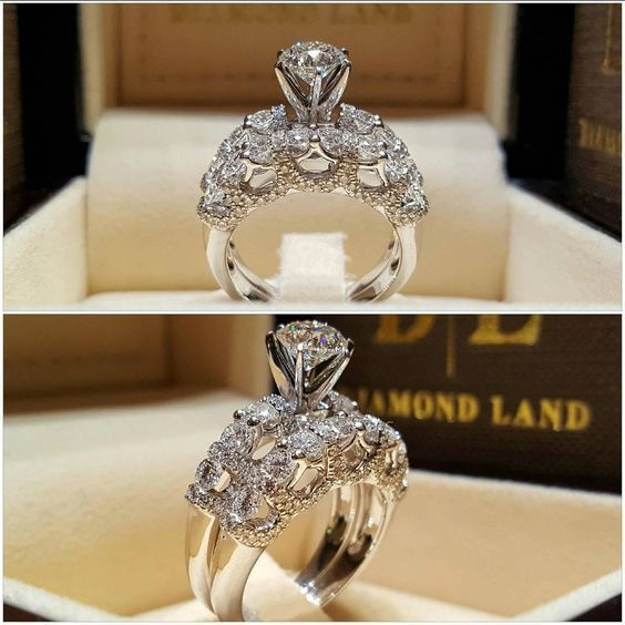 Sterling, Engagement Wedding Ring Set, 925 silver rings, Sterling Silver Ring