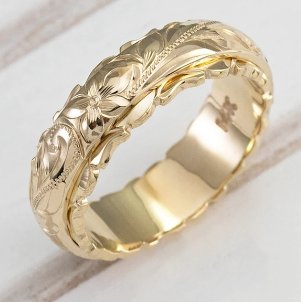 18k gold, wedding ring, gold, flowerring
