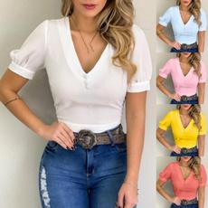 blouse, Women, Shorts, Slim T-shirt
