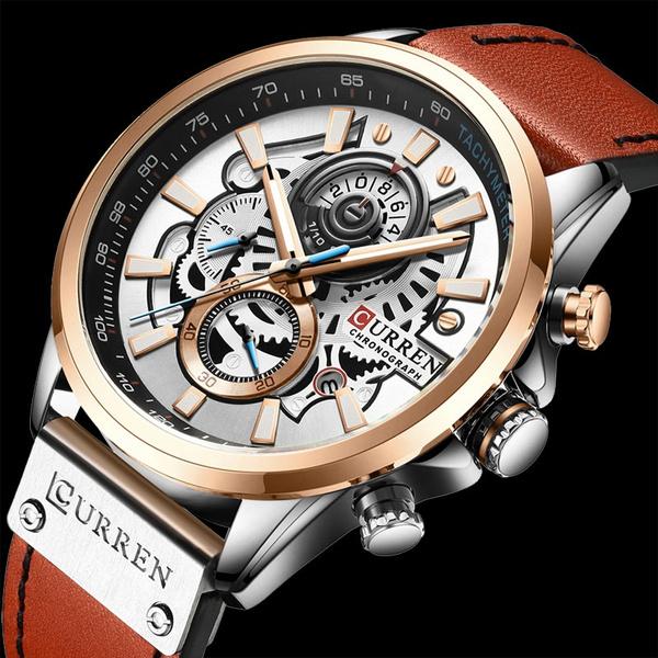 curren8380watch, Chronograph, dial, quartz