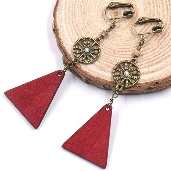 bohemia, Wood, tasselearclip, Triangles