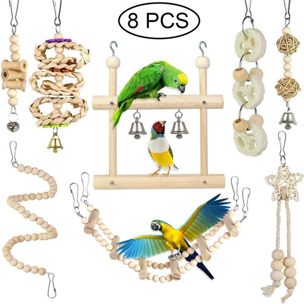 MQFORU Bird Parrot Toys 8 Packs Bird Swing Chewing Hanging Perches with Bells Finch Toys for Love Birds Howl Budgie Cockatiels Macaws Parakeets Conure Finches Lorikeets and Other Small Medium Birds.
