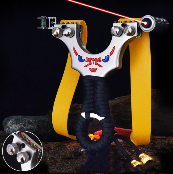 Archery Slingshot Hunting Slingbow Catapult Flat Rubber Band Shooting Target Bow