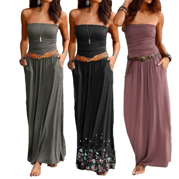 Summer, printeddres, Tube top, plus size dress