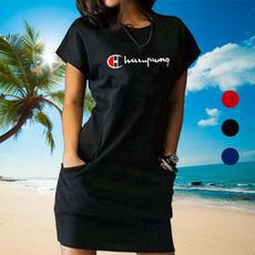slim dress, summer dress, womenshortsleevedre, Summer