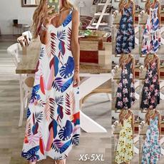Deep V-Neck, Summer, long skirt, Plus Size