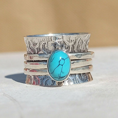 Sterling, Turquoise, wedding ring, 925 silver rings