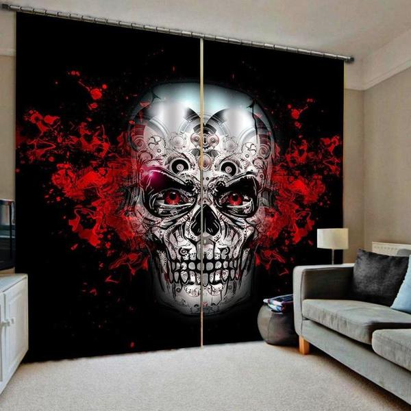 Design, chinesecurtain, skull, bedroom