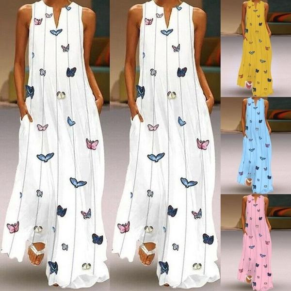 butterfly, Sleeveless dress, V Collar, womens dresses
