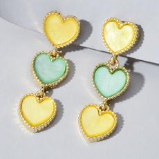 Heart, candycolorearring, hearttasselearring, Jewelry