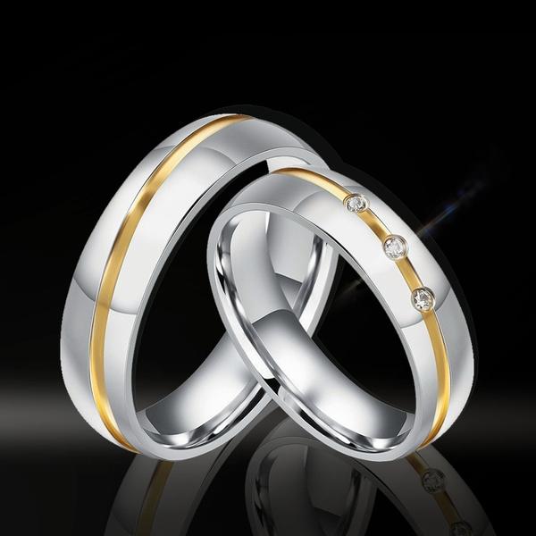 Couple Rings, Steel, DIAMOND, wedding ring