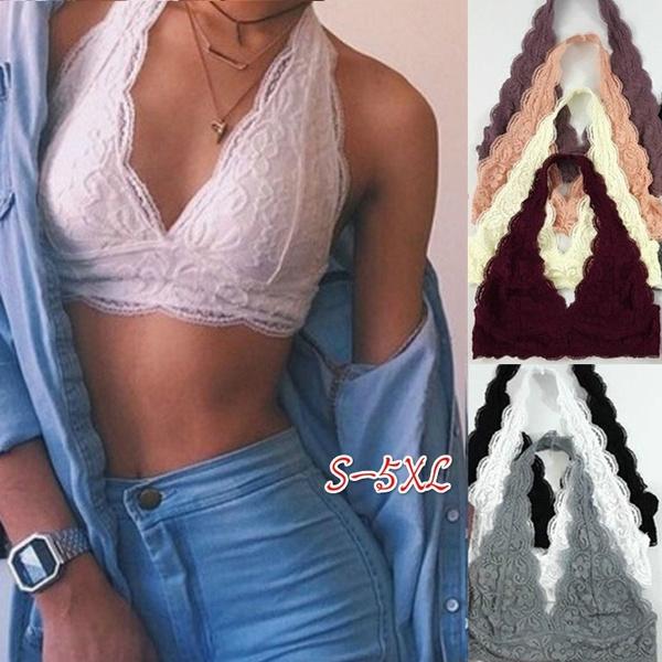 Plus Size, bralette top, Halter, floral lace