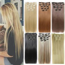 7pcsclipinhairextension, Extensiones de pelo, Hair Extensions & Wigs, straightsynthetichair