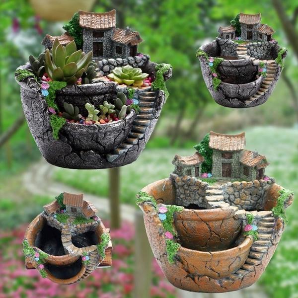 succulent, Plants, Flowers, planter
