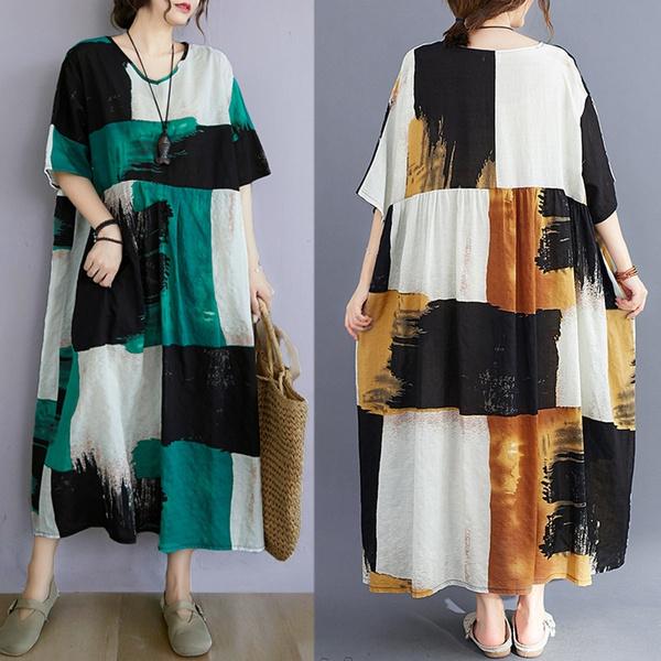 Summer, short sleeve dress, Cotton, cottonlinendres