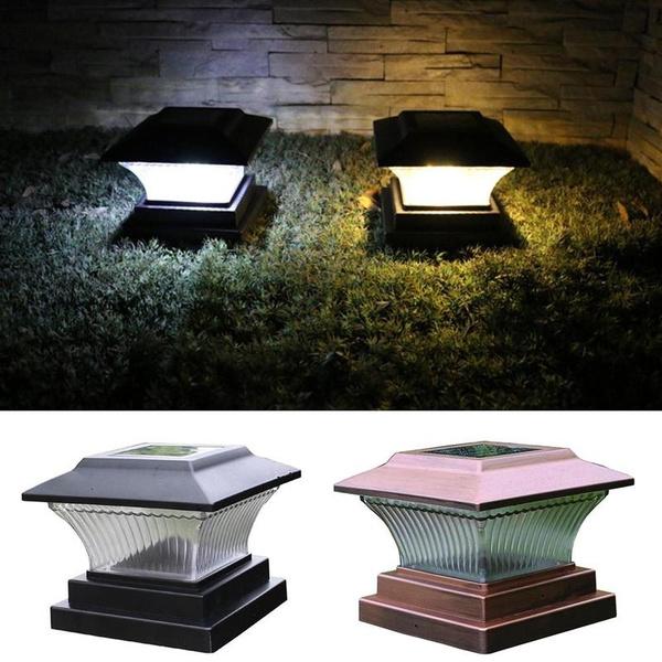 Outdoor Solar Powered LED Deck Post Light Garden Cap Square Fence Landscape Lamp