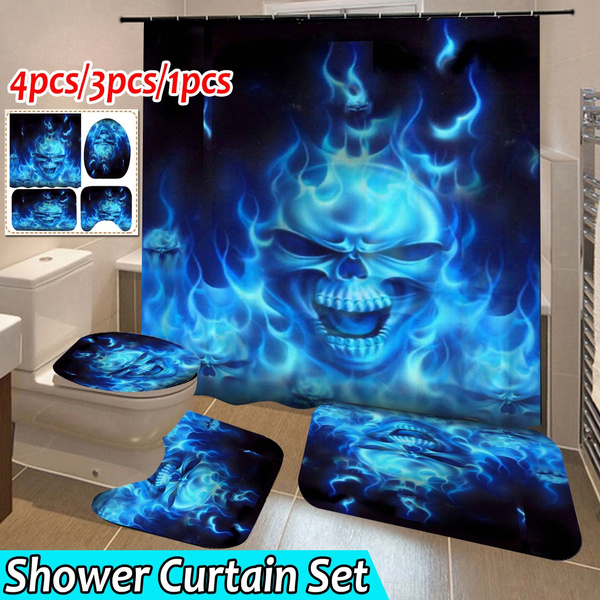 bademattenset, Shower, Bathroom, skull
