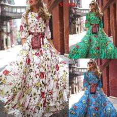 Floral print, Sleeve, chiffon, long dress