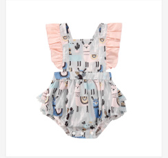 Summer, ruffle, animal print, toddlerinfantsbodysuit