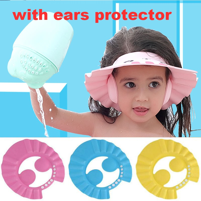 Adjustable Baby Kids Children Shampoo Bathing Shower Cap Hat Wash Hair Shield UQ