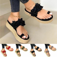 non-slip, beach shoes, Flip Flops, Flowers
