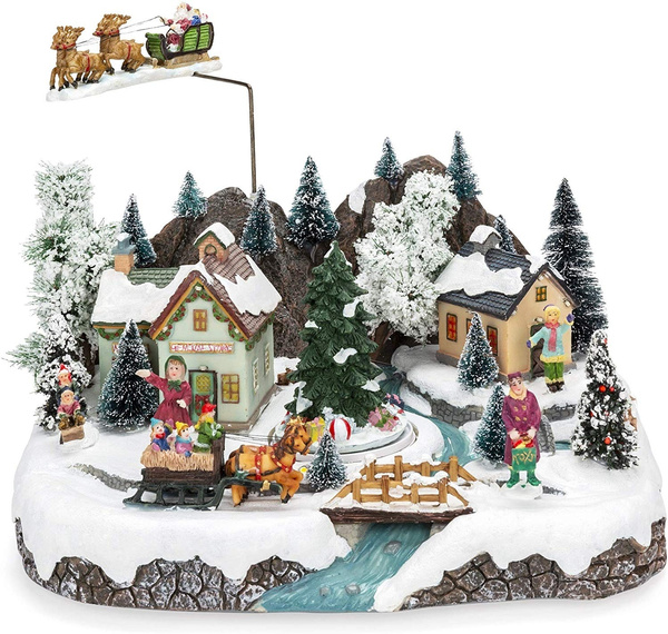 Animated Musical Pre-Lit Tabletop Christmas Village w ...