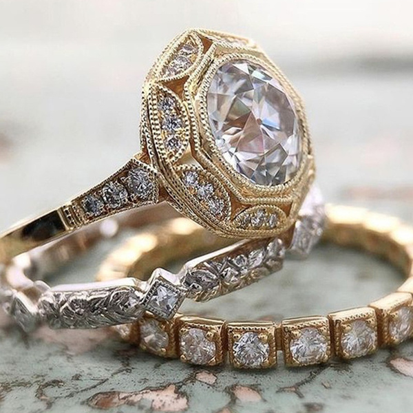 Sterling, Engagement Wedding Ring Set, 925 sterling silver, 18k gold ring
