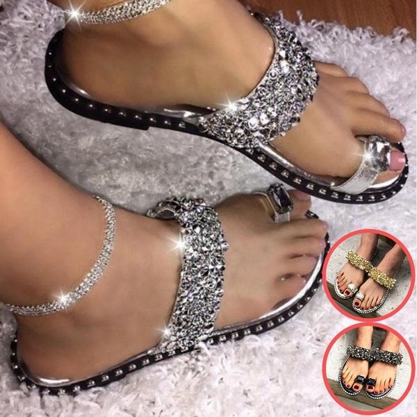 Summer Women Flat Diamond Sandals Bling