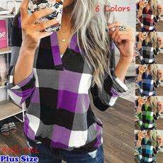 plaid shirt, softshirt, Plus Size, Tops & Blouses
