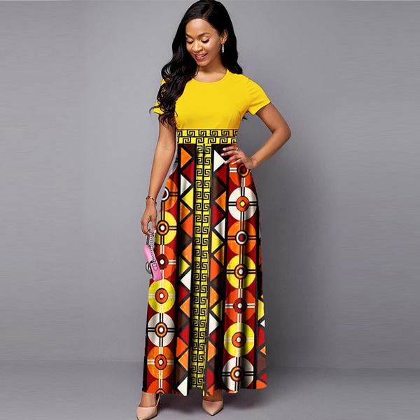 long dress, Dress, short sleeves, Elegant