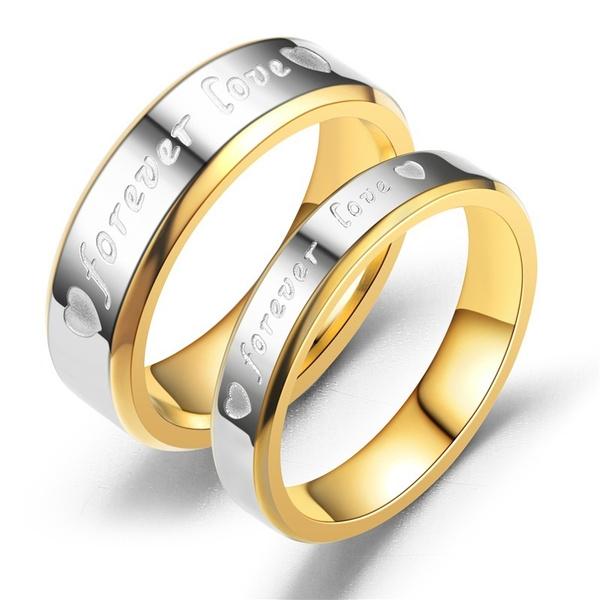 foreverlovering, Couple Rings, Stainless Steel, Love
