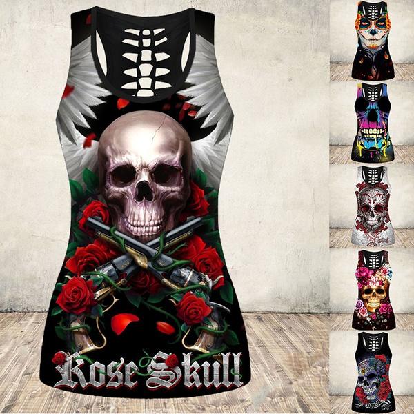 Skull Tank Top, Goth, Fashion, Tops & Blouses