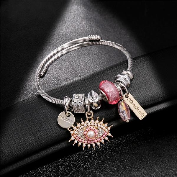 Charm Bracelet, Stainless Steel, Evil, bracelets & bangles