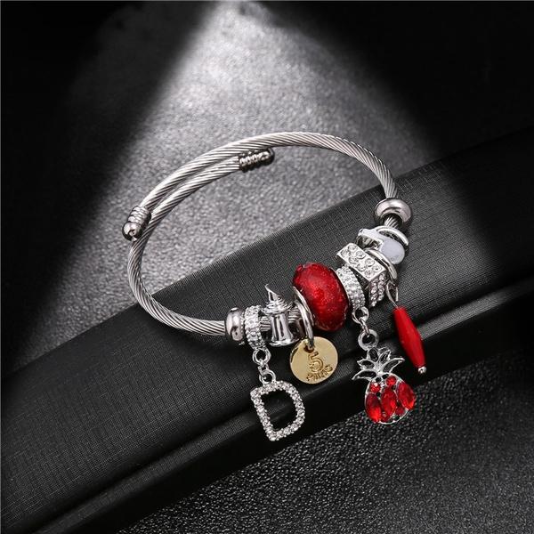 Charm Bracelet, Fashion, Stainless Steel, bracelets & bangles