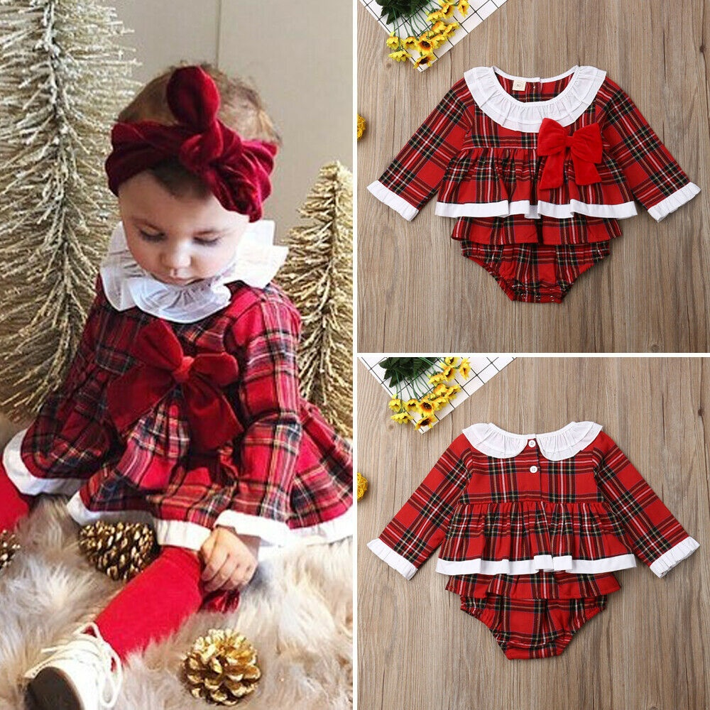 Longfei Newborn Baby Girl Christmas Romper Xmas Red Plaid Bodysuit Dress Ruffle Sleeveless Party Playsuit Outfit Clothes