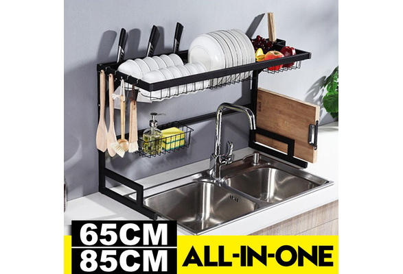 65CM//85CM Dish Drying Rack Over The Sink Stainless Steel Bowl Dish Drain Rack