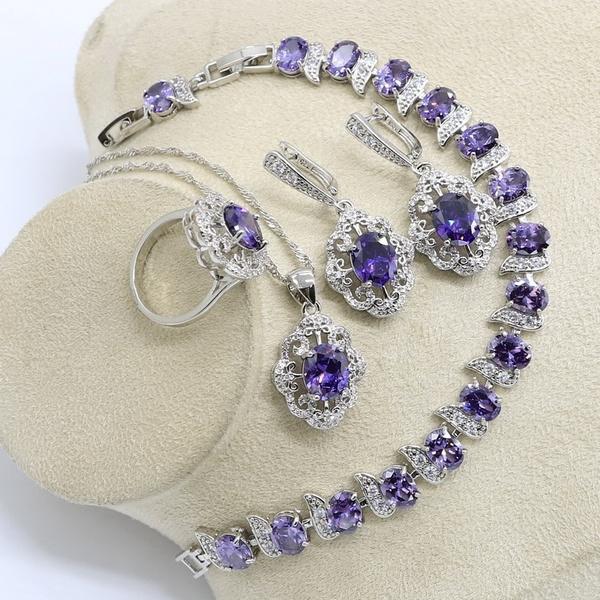 925silverjewelryset, Jewelry, purple, necklaceearring