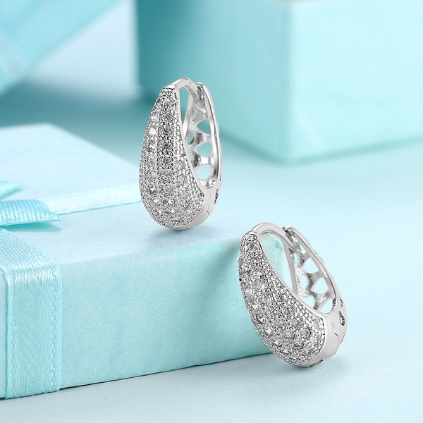 Cubic Zirconia, White Gold, Hoop Earring, pavesetting