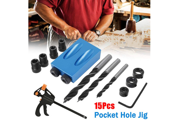 15pcs Pocket Hole Jig Kit Woodworking Guide Oblique Drill Angle Hole Locator New