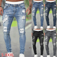 men's jeans, Fashion, pants, rippedjean