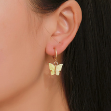 Gifts For Her, butterfly, timepiece, Dangle Earring