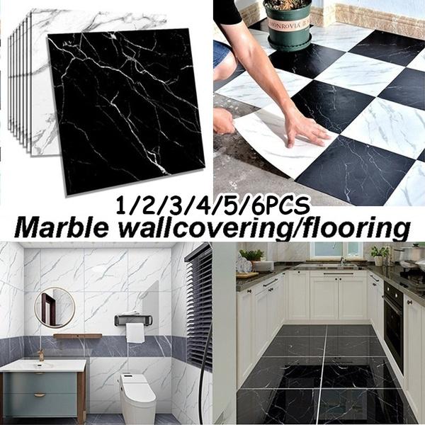 3D Waterproof Marble Tile Sticker Self-adhesive Wall Flooring Wall Sticker Decor