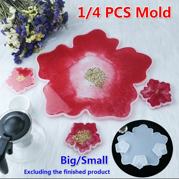 Diy Flower Mold Crystal Epoxy Resin Mold Silicone Mirror Tabletop Table Mold Coaster Base Mold For Jewelry Making Wish