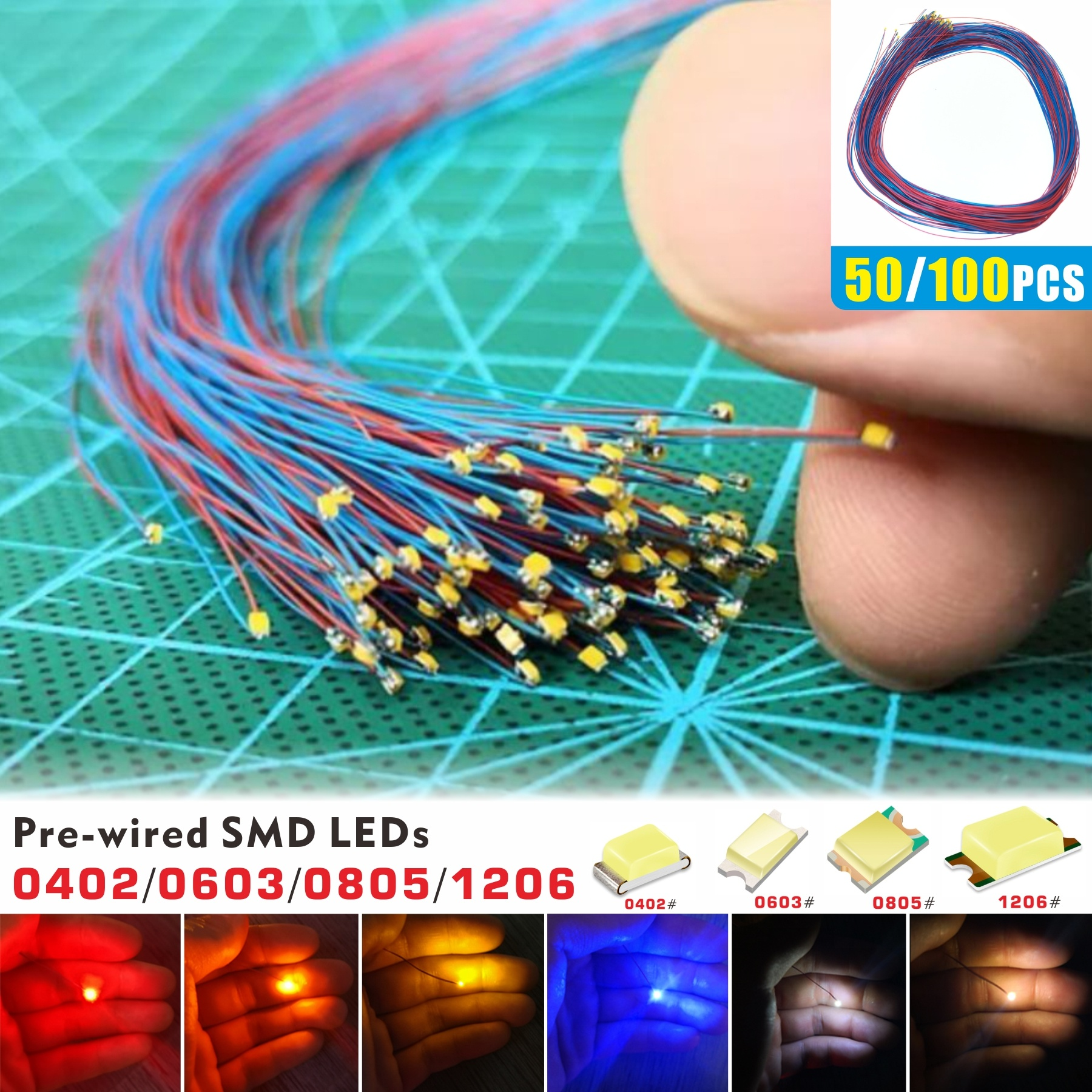 50 100pcs Pre Soldered Micro Smd Led Pre Wired Light Diode 0402 0603 0805 1206 Dc 2 8 3v For Diy Ho Scale Hobby Model Kit Wish