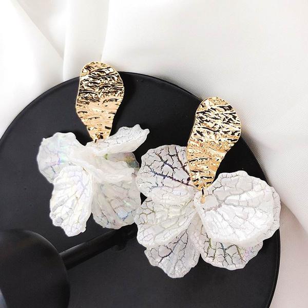 cute, whiteearringsforwomen, Flowers, Dangle Earring