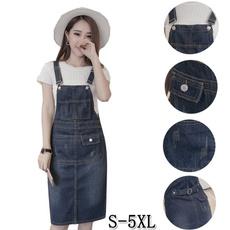 denim dress, slim dress, Plus Size, suspenderdre