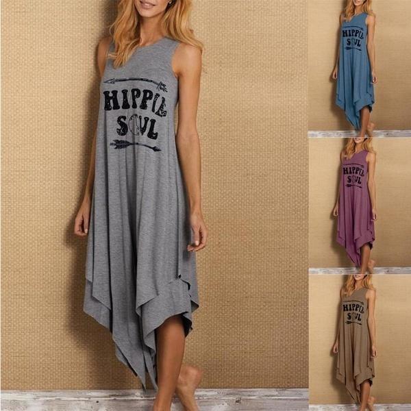 Plus Size, letter print, asymmetric, Dress