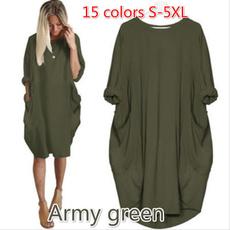 Pocket, long skirt, Plus Size, Sleeve
