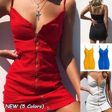 Deep V-Neck, Summer, Club Dress, Fashion