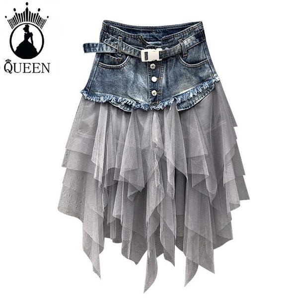 Summer, summer skirt, Irregular, Cowboy